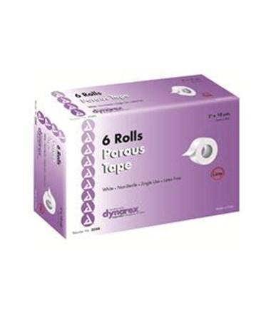 "Dynarex #3588 Porous Tape, 2"" x 10 Yds, 6 Rolls Per Box, 12 Boxes Per Case"