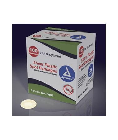 "Dynarex #3607 Adhesive Bandage, Sheer Spot, 7/8"", Sterile, 100 Bandages Per Box, 48 Boxes Per Case"