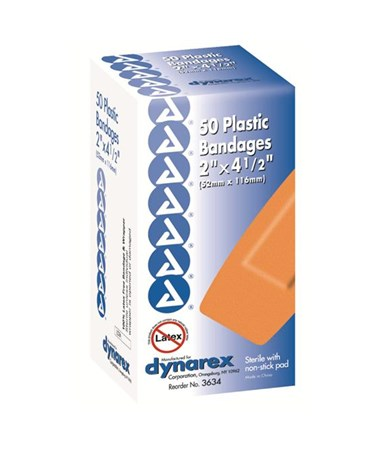 "Adhesive Bandage, Plastic, 2"" x 4.5"", X-Large DYN3634"