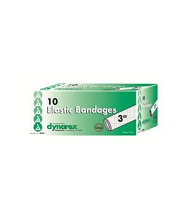 "Dynarex #3663 Elastic Bandage, 3"", Latex Free, 10 Bandages Per Box, 5 Boxes Per Case"