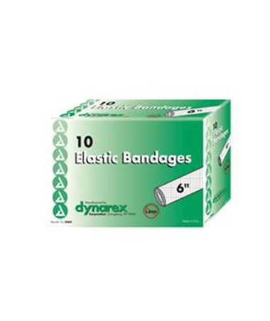 "Dynarex #3666 Elastic Bandage, 6"", Latex Free, 10 Bandages Per Box, 5 Boxes Per Case"
