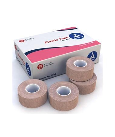 "Dynarex #3667 Elastic Tape, 1"" x 5 Yards, 12 Rolls Per Box, 12 Boxes Per Case"