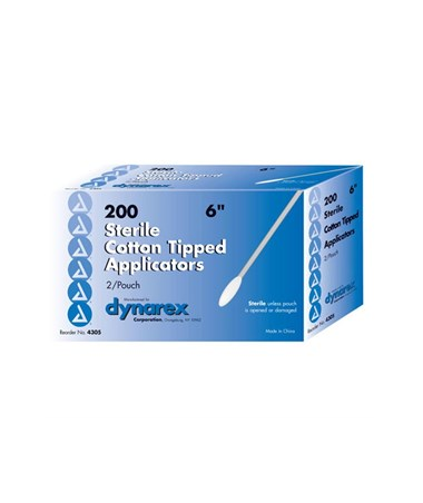 "Dynarex #4305     Cotton Tip Applicator 6"", Sterile, 2 per pouch, 100 pouches per box, 10 boxes per case, total of 2,000 Applicators per case"