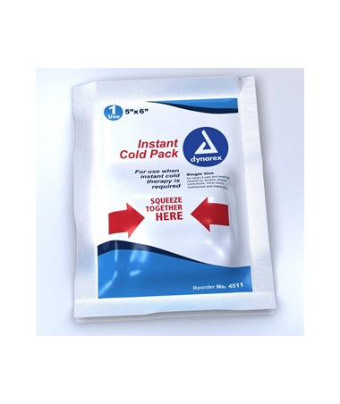 "Dynarex #4511 Instant Cold Pack, 4"" x 5"", 24 Packs Per Case"