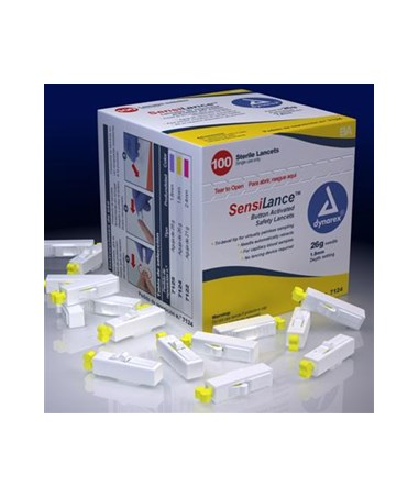 Dynarex #7124 SensiLance Safety Lancets, Button Activated, 21g, Sterile, 100 Per Box