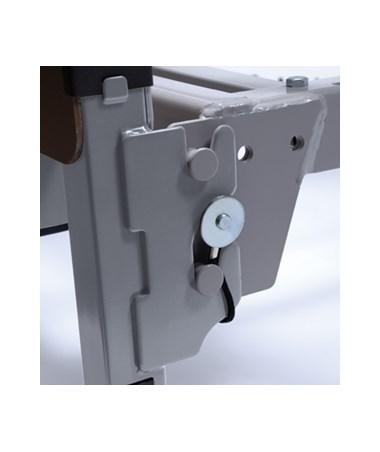 Locking pins secure frame to sleep deck