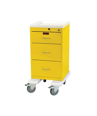 Harloff Mini Line Three Drawer Infection Control Cart Bumper and Caster Upgrade