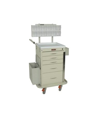 Harloff Mini Line Five Drawer Phlebotomy Cart Breakaway Lock
