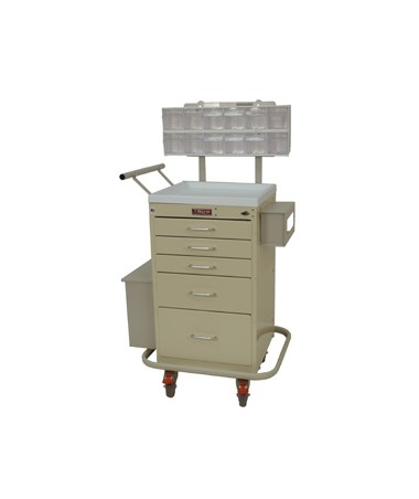 Harloff Mini Line Five Drawer Phlebotomy Cart Turn Latch