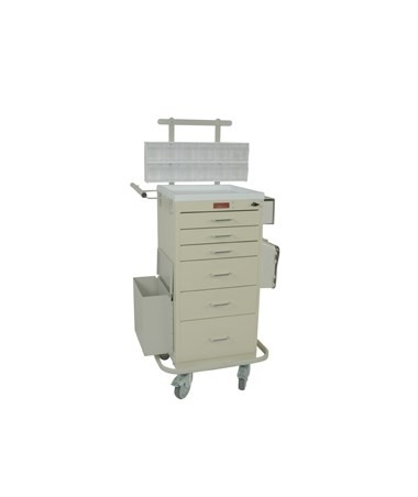 Harloff Mini Line Six Drawer Phlebotomy Cart Turn Latch