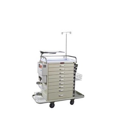 Harloff Classic Nine Drawer Pediatric Resuscitation Cart Super Stat Package