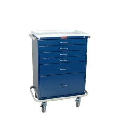 Harloff Classic Tall Six Drawer Anesthesia Cart with Key Lock, Standard Package