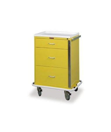 Harloff Classic Three Drawer Infection Control Cart with Breakaway Lock Standard Package