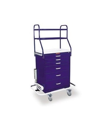 Harloff Classic Tall Six Drawer Anesthesia Cart with Overhead Shelving and Key Lock, Standard Package