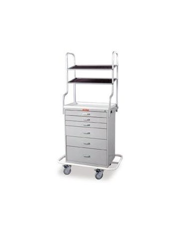 Harloff Classic Tall Six Drawer Anesthesia Cart with Overhead Shelving and Key Lock, Specialty Package