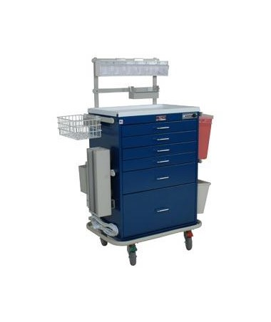 Classic Tall Six Drawer Deluxe Anesthesia Cart with Combination Lock HAR7456-
