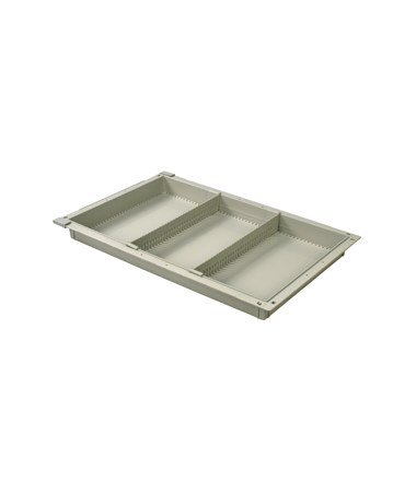"""Harloff 2"""" Exchange Tray with 2 Short Dividers for Mobile Medical Storage"""