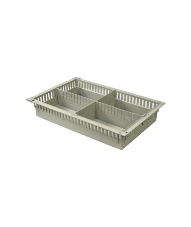 "Harloff 4"" Exchange Tray with 1 Long Divider and 1 Short Divider for Mobile Medical Storage"
