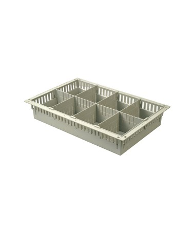 "Harloff 4"" Exchange Tray with 1 Long Divider and 3 Short Dividers for Mobile Medical Storage"
