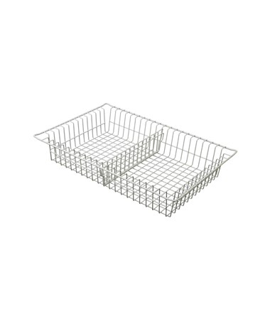 "Harloff 4"" Wired Basket with 1 Short Divider for Mobile Medical Storage"
