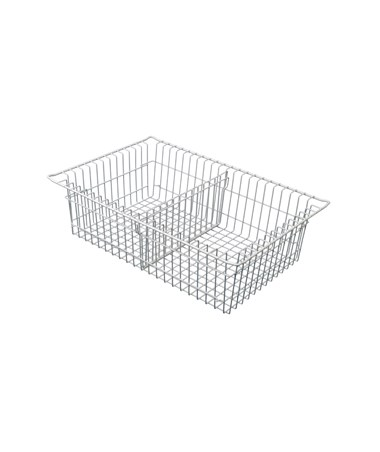 "Harloff 7"" Wired Basket with Short Divider for Mobile Medical Storage"