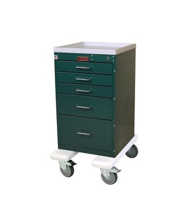 Harloff Mini Line Aluminum Five Drawer Anesthesia Cart, Bumper and Caster Upgrade