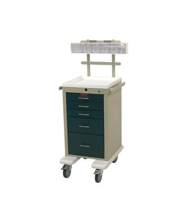 Harloff Mini Line Aluminum Five Drawer Anesthesia Cart, Specialty Package & Bumper and Caster Upgrade
