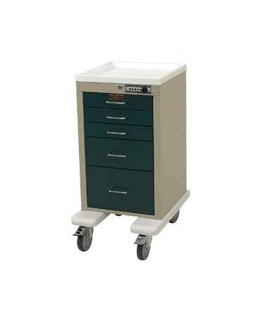 Harloff Mini Line Aluminum Five Drawer Anesthesia Cart with Combination Lock, Bumper and Caster Upgrade
