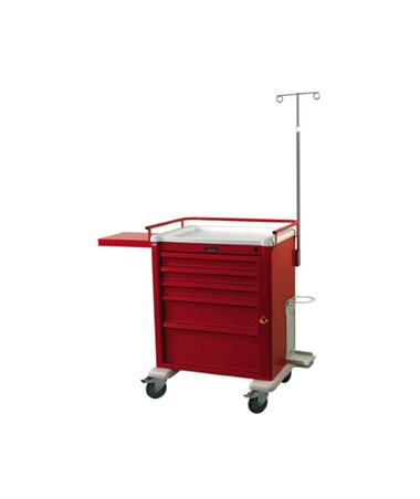 Harloff AL808B5-EMG Aluminum Medium 5 Drawer Crash Cart with Emergency Package