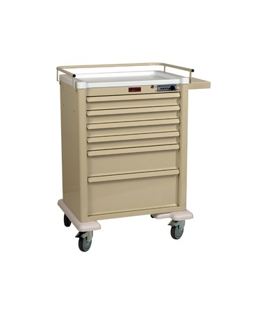Harloff Universal Line 6 Drawer Anesthesia Cart with Mechanical Combination Lock, Standard Package