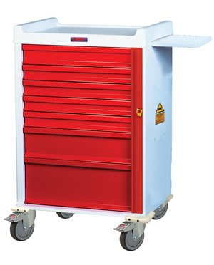 MR-Conditional Narrow Seven Drawer Emergency Cart HARMRN7B-