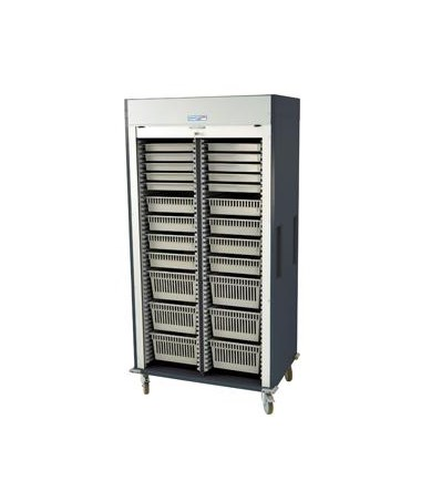 Harloff Preconfigured Double Column Medical Storage Cart with Tambour Door A Configuration