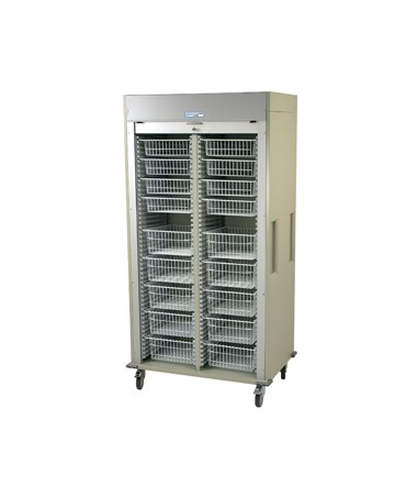 Harloff Preconfigured Double Column Medical Storage Cart with Tambour Door B Configuration