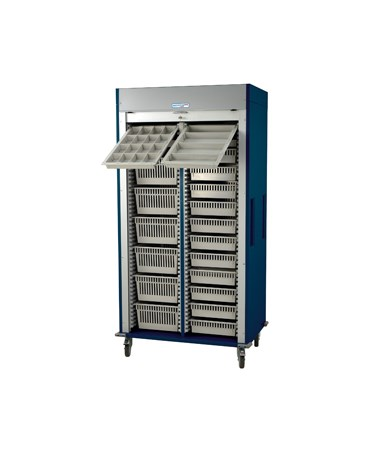 Harloff Preconfigured Double Column Medical Storage Cart with Tambour Door D Configuration