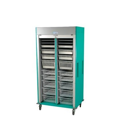 Harloff Preconfigured Double Column Laparoscopy Medical Storage Cart with Tambour Door