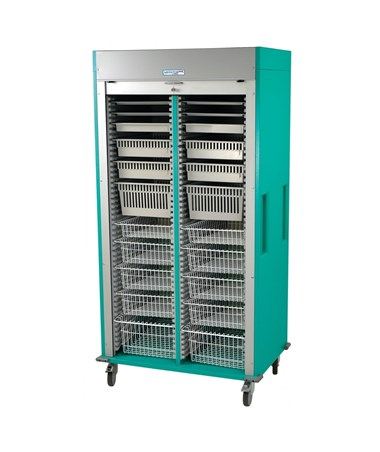 Preconfigured Double Column Laparoscopy Medical Storage Cart with Tambour Door HARMS8140-LAP-