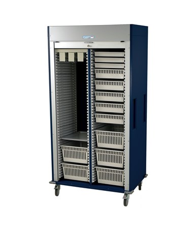 Preconfigured Double Column Vascular Medical Storage Cart with Tambour Door HARMS8140-VASC-