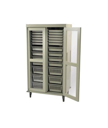 Harloff Preconfigured Double Column Medical Storage Cart with Clear Panel Doors