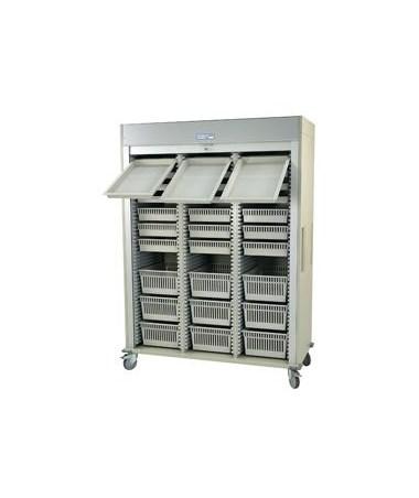 Harloff Preconfigured Triple Column Arthroscopic Medical Storage Cart with Tambour Door