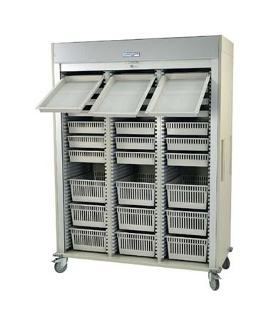 Preconfigured Triple Column Arthroscopic Medical Storage Cart with Tambour Door HARMS8160-ARTHRO-