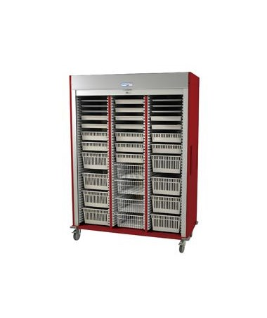 Harloff Preconfigured Triple Column Cardiovascular Medical Storage Cart with Tambour Door