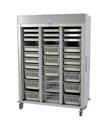 Preconfigured Triple Column Laparoscopy Medical Storage Cart with Tambour Door HARMS8160-LAP-