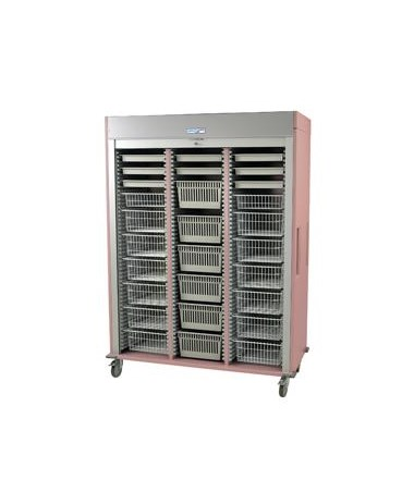 Harloff Preconfigured Triple Column Orthopedic Medical Storage Cart with Tambour Door