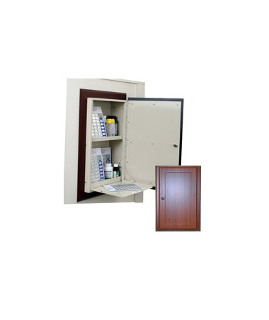 Harloff Wood Laminate Wall 40 Punch Card Medication Cabinet with Recessed Panel