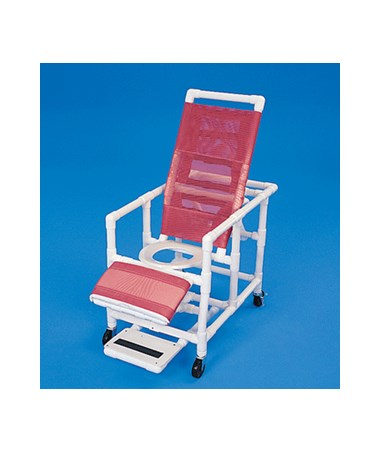 PVC Reclining Shower Chair With Legrest And Sliding Footrest HMPCS400W4