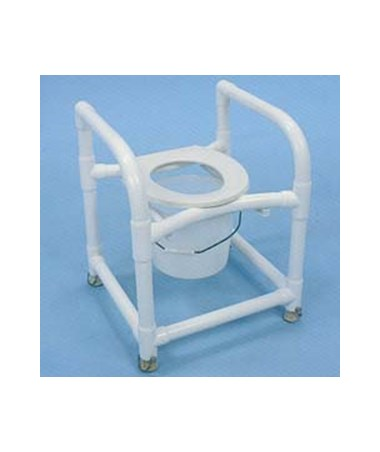 PVC Commode Safety Frame with 12 Qt Pail - Adjustable HMPCSFAP 3-IN-1