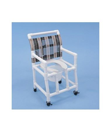 "PVC Shower Chair with Deluxe Elongated Open Front Commode Seat - 18"" Width HMPSC6043OFP"