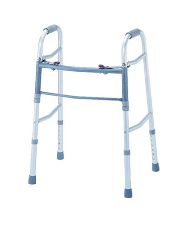 "Two Buttons Adjustable Deluxe Folding Walker with 5"" Wheels KARW-01-W5"