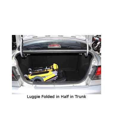 Luggie Portable Scooter - Folded in Half in Trunk