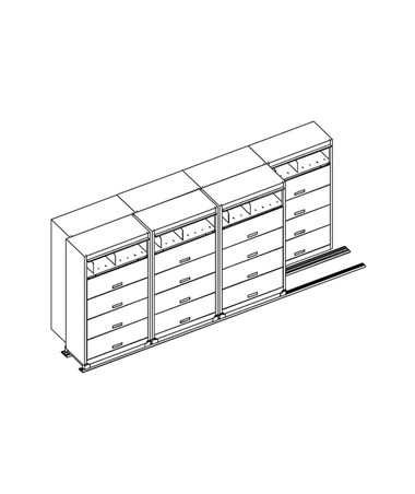 MAYFF543- Flip-n-File™ Cabinets on Kwik-Track - Bi-Slider, 7 Units - 4/3 - Scatch